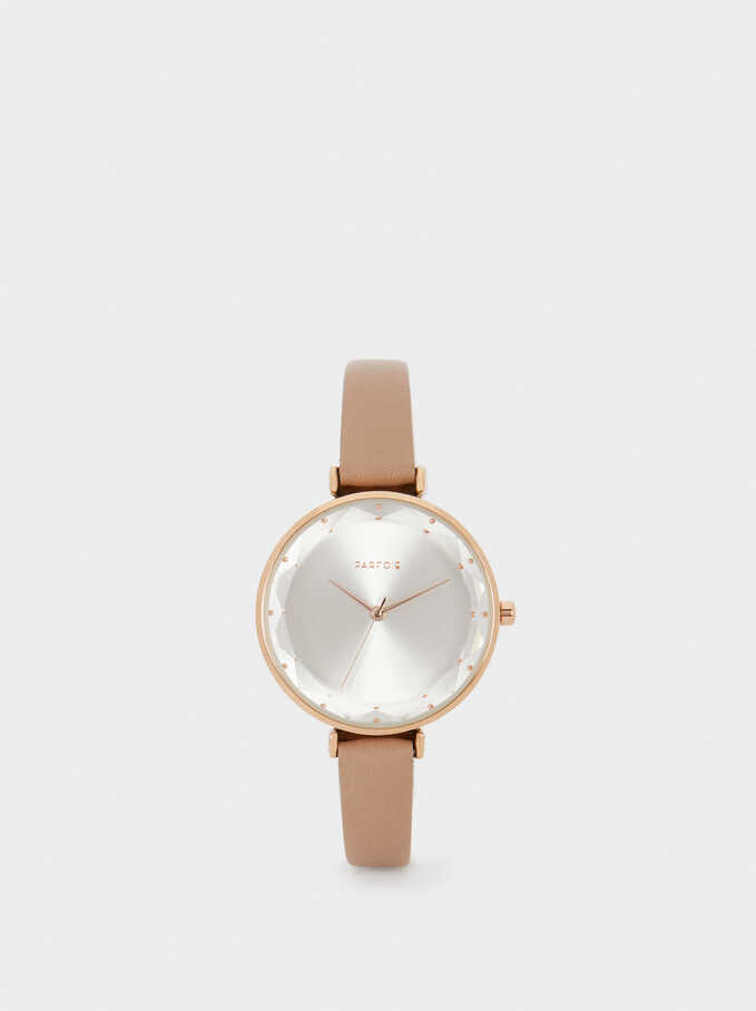 Rose Gold Metallic Watch, Beige, hi-res