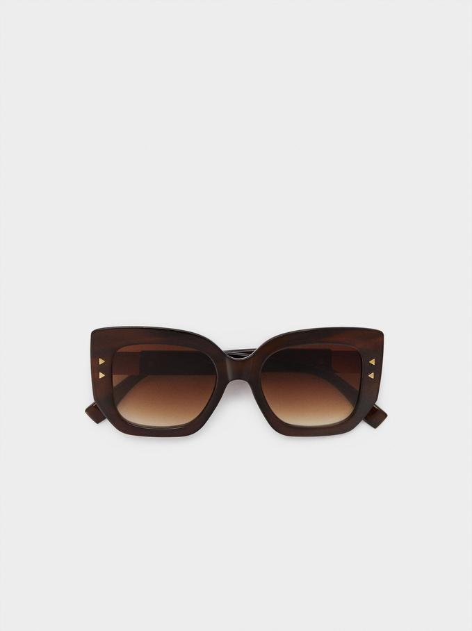 Óculos De Sol De Armação Quadrada, Castanho, hi-res