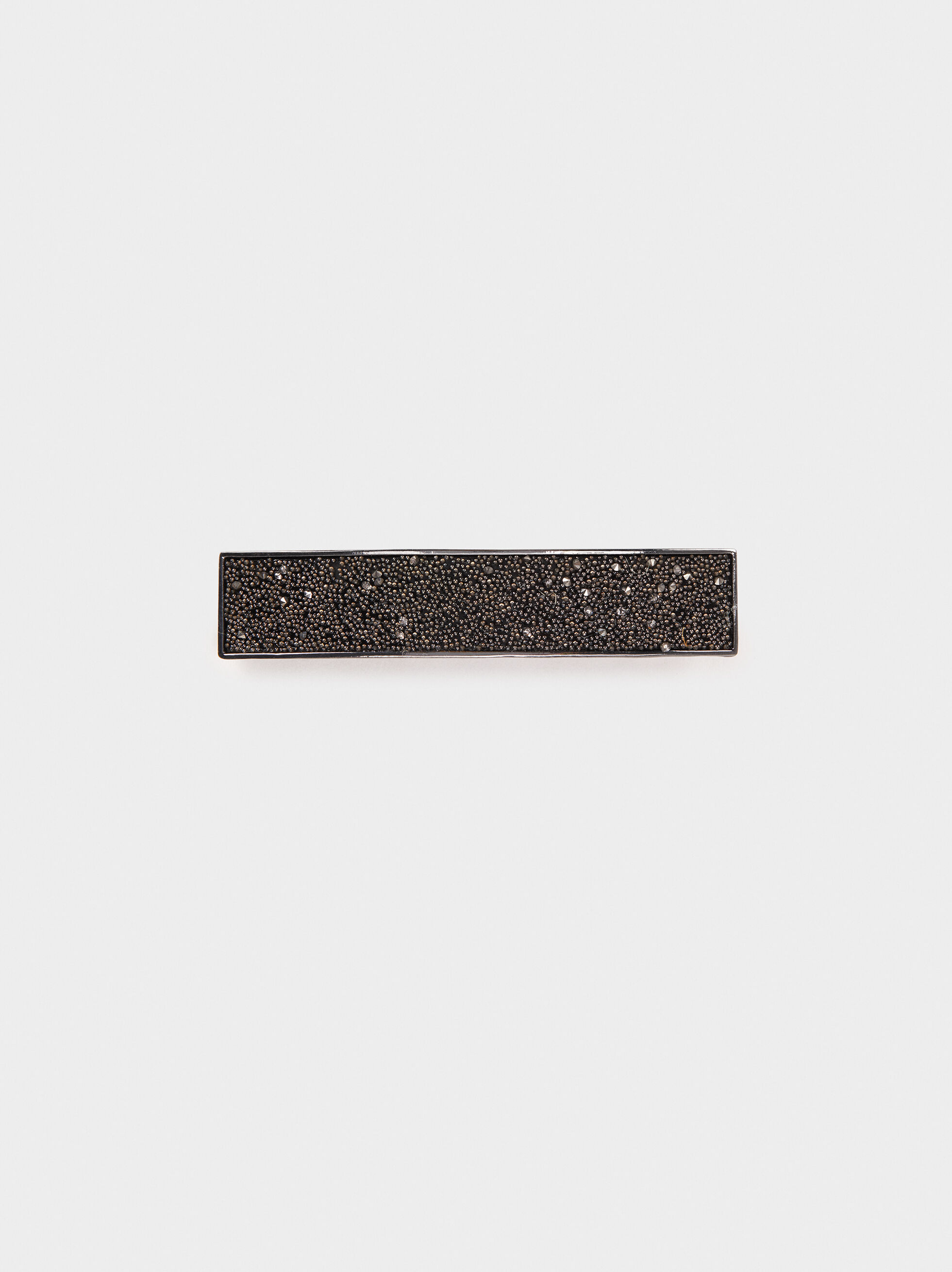 Rectangular Hairclip, Black, hi-res