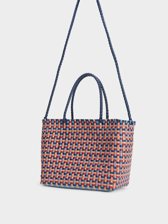 Multicoloured Faux Raffia Tote Bag, Navy, hi-res