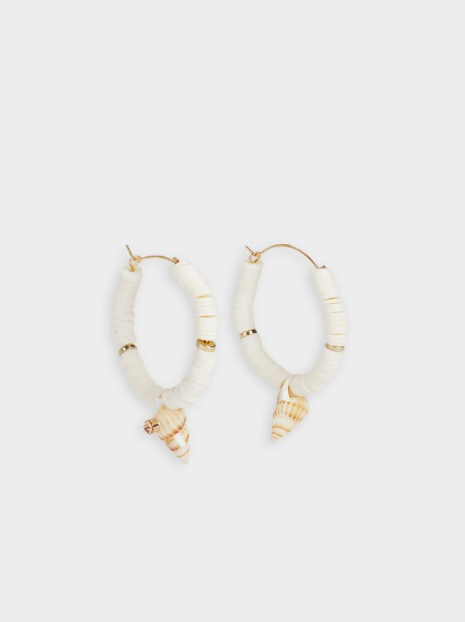 Hoop Earrings With Shell, Beige, hi-res