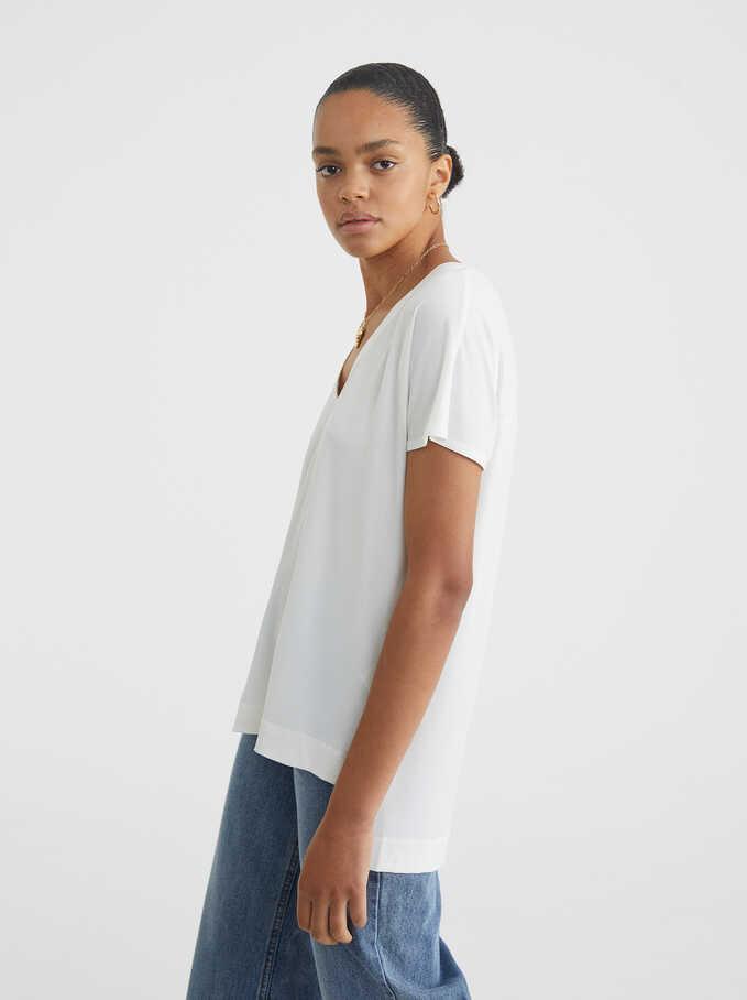 Camiseta Escote De Pico, Blanco, hi-res