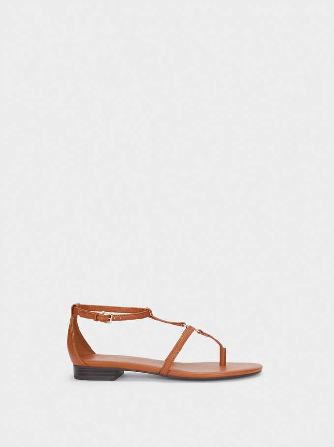 Flat Strappy Sandals, Camel, hi-res
