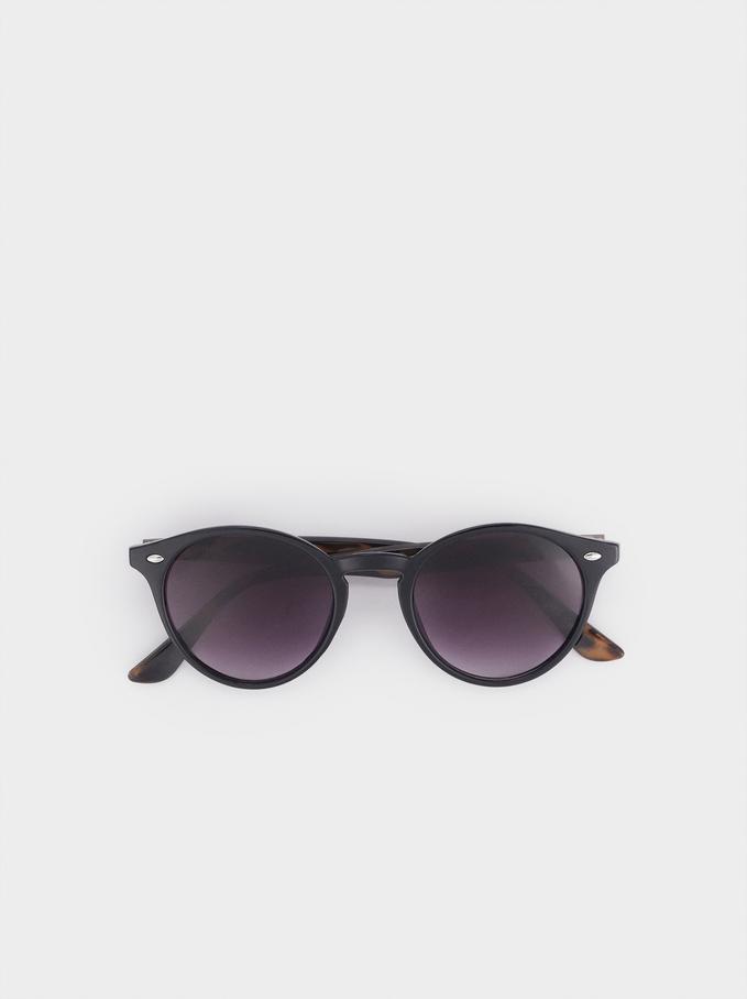 Round Sunglasses, Black, hi-res