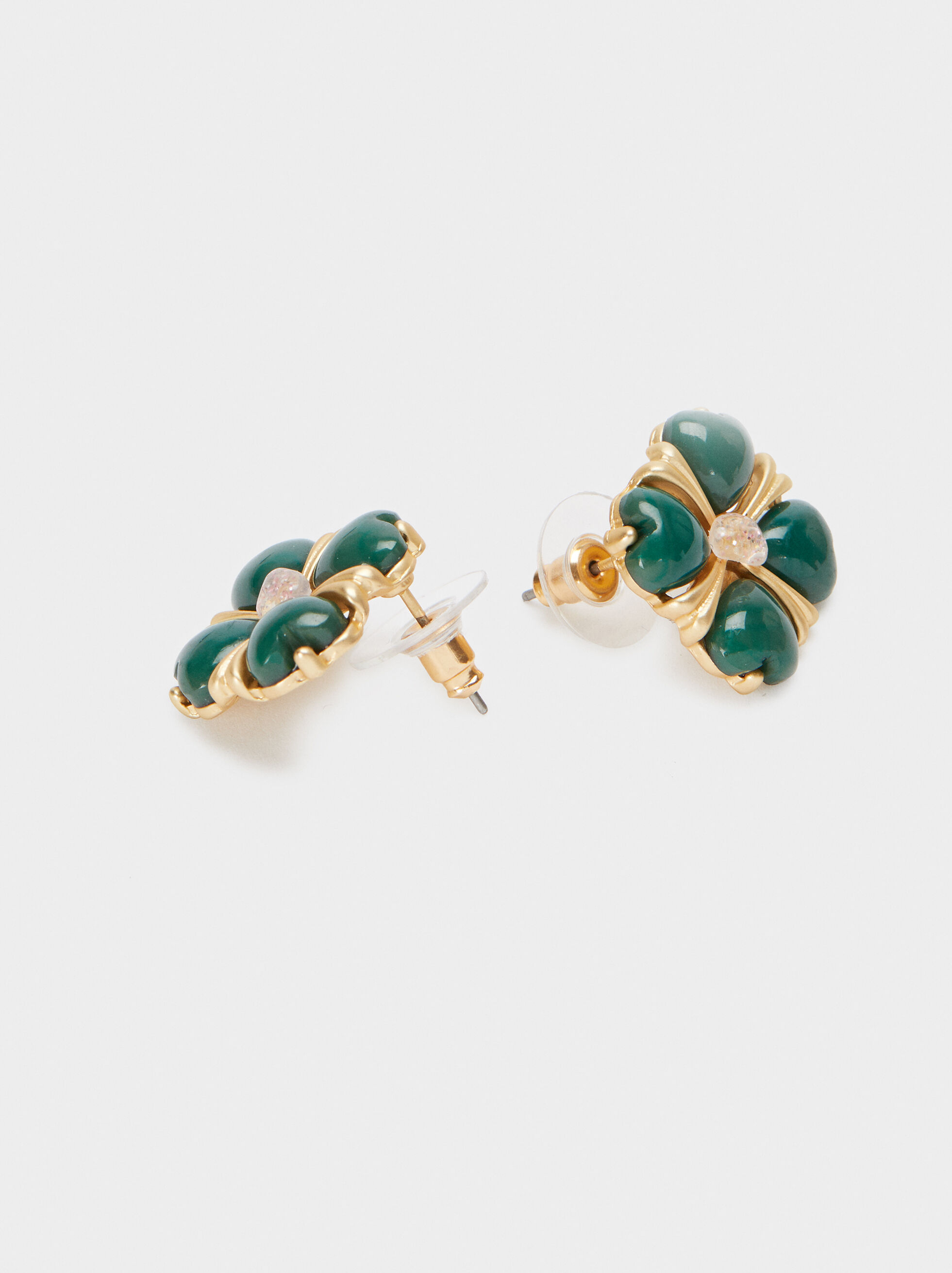 Small Gold Earrings With Clover, Multicolor, hi-res