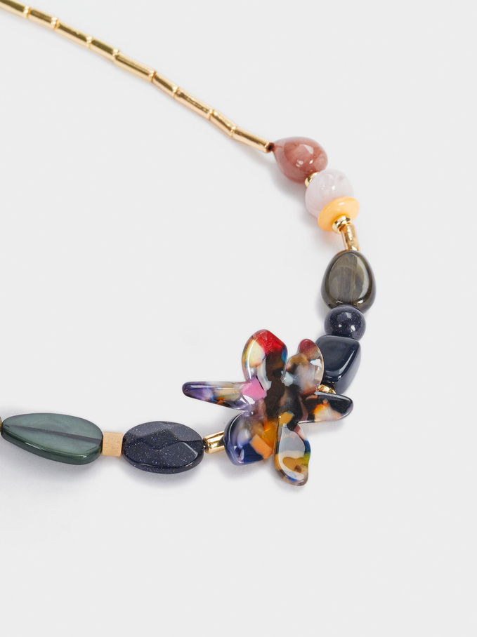 Short Necklace With Stones And Flower, Multicolor, hi-res