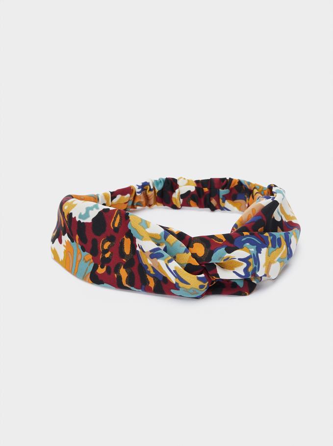 Printed Turban-Style Headband, Multicolor, hi-res