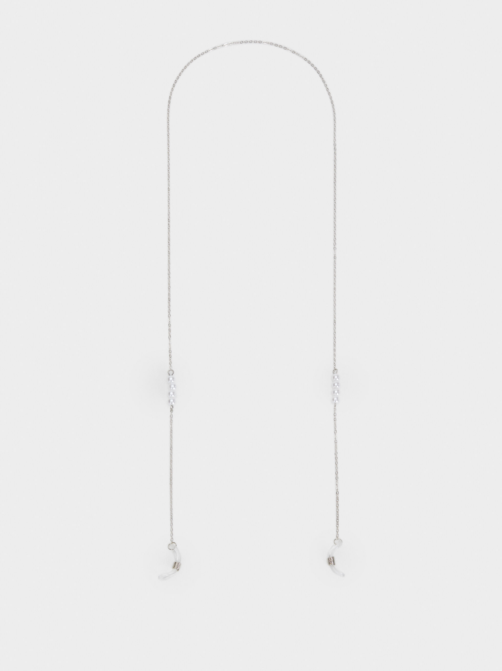 Faux Pearl Glasses Chain, Silver, hi-res