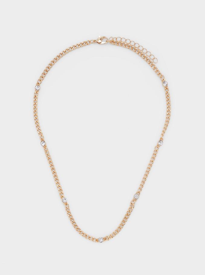 Short Golden Necklace With Crystals, Golden, hi-res