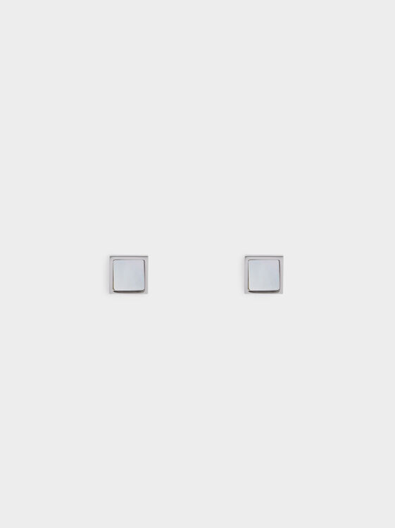 Square Steel Studs, Silver, hi-res