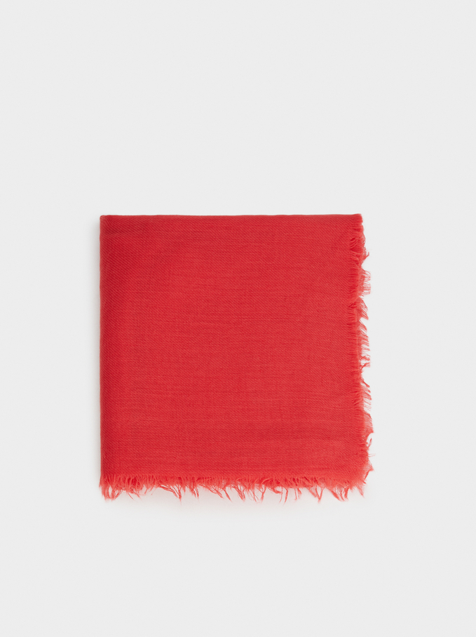 Plain Pashmina, Red, hi-res