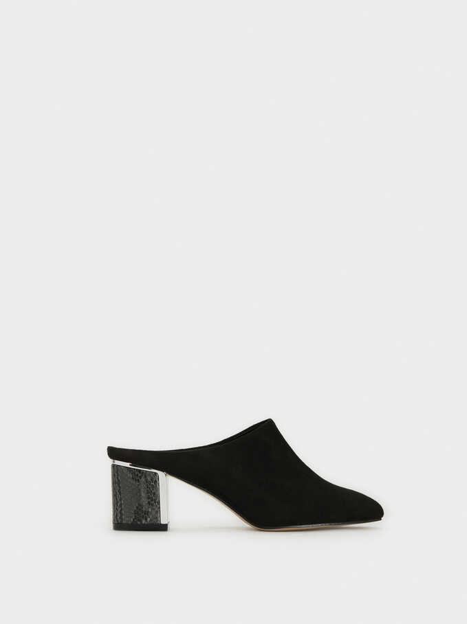 Faux Suede Mules With Snakeskin-Effect Heels, Black, hi-res