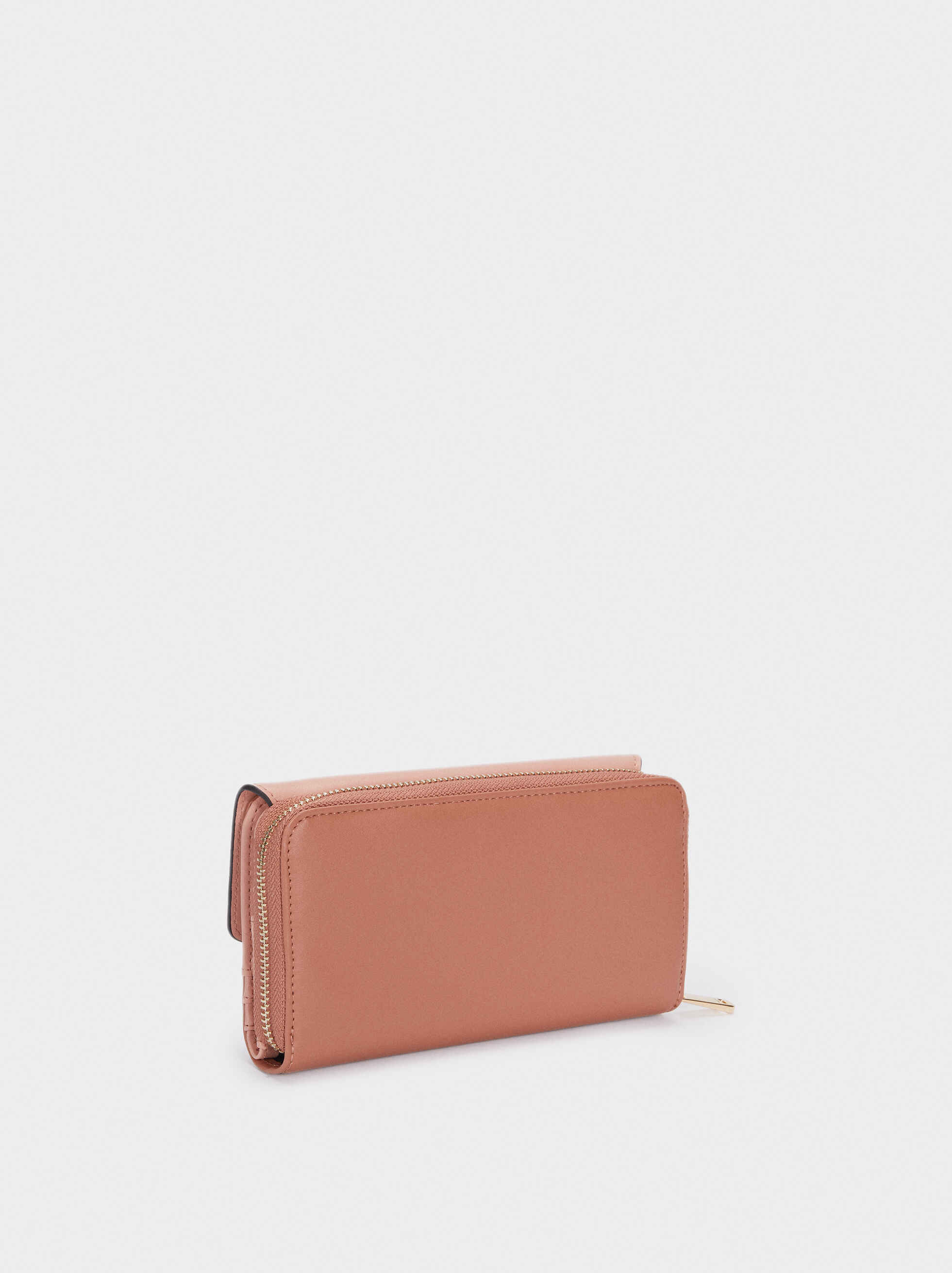 Wallet With Front Flap And Zip Fastening, Pink, hi-res