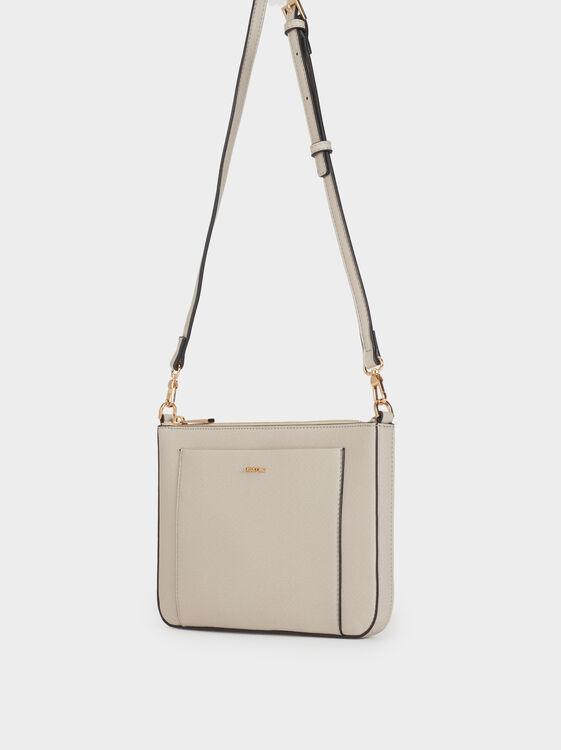 Plain Crossbody Bag, Grey, hi-res