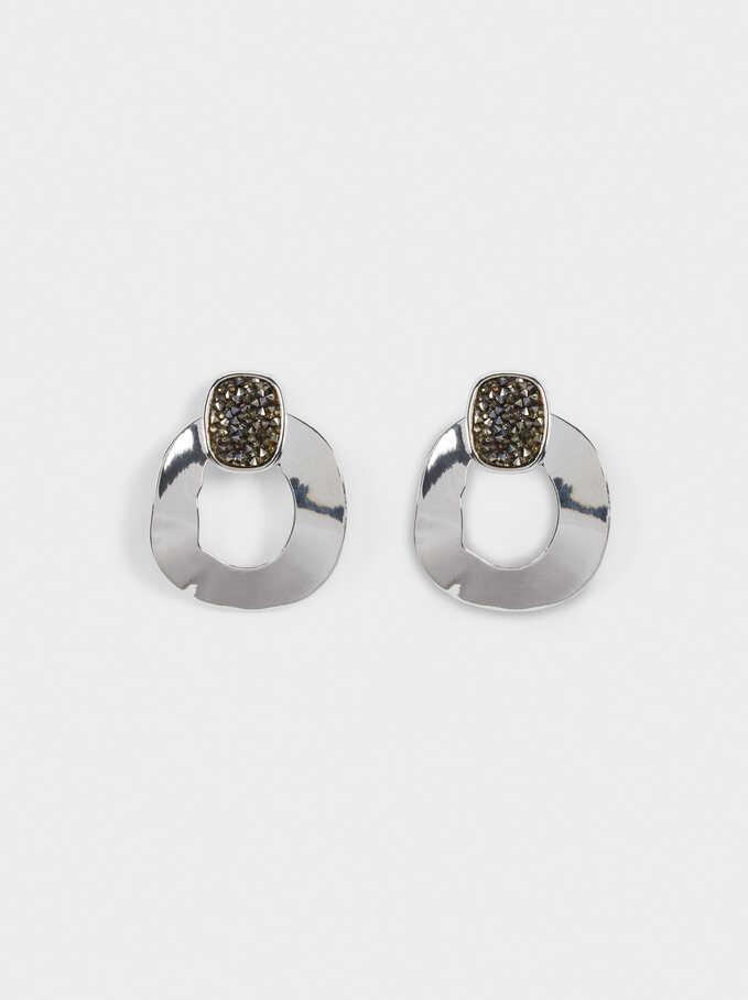 Long Geometric Earrings, Silver, hi-res
