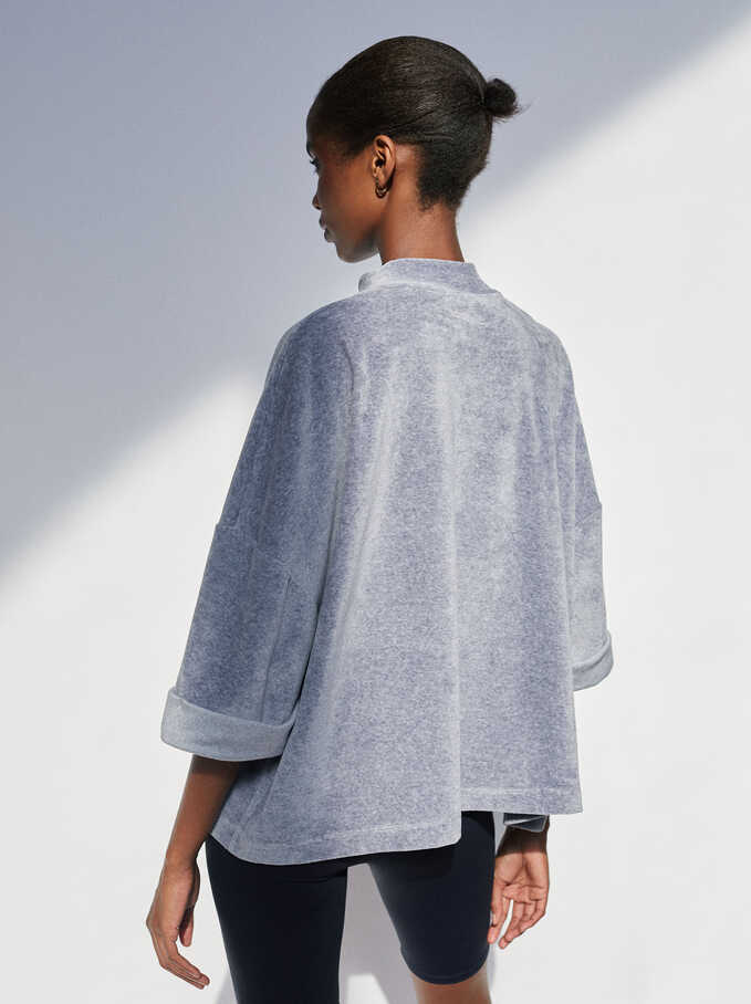 Sweater Liso Oversize, Gris, hi-res