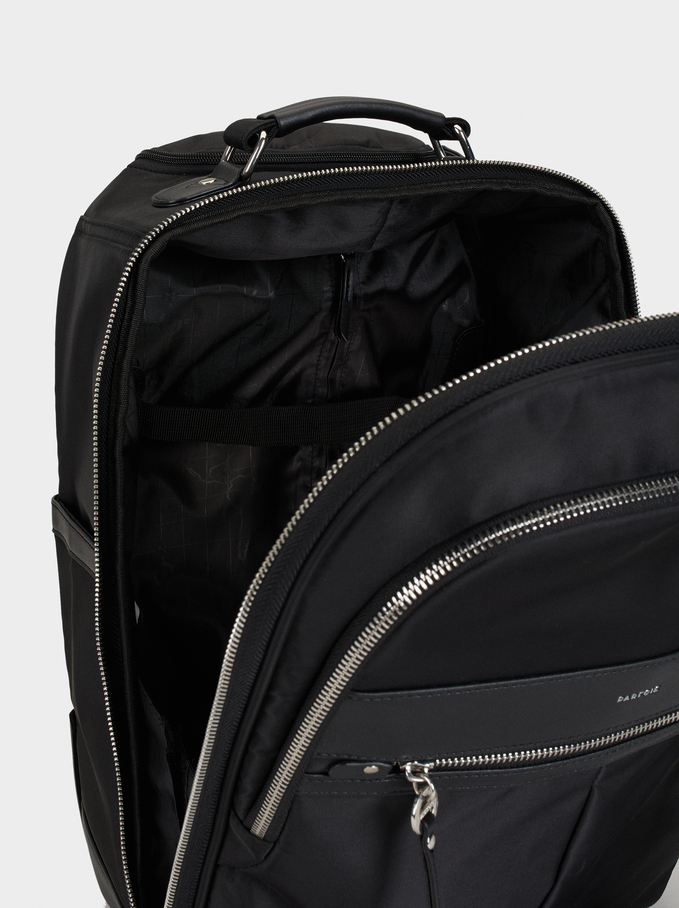 Nylon Trolley Backpack, Black, hi-res