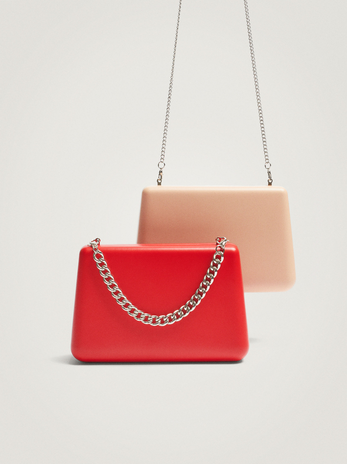 Party Clutch With Chain Handle, Red, hi-res