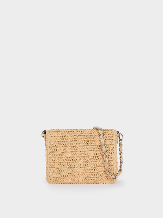 Woven Shoulder Bag, Ecru, hi-res