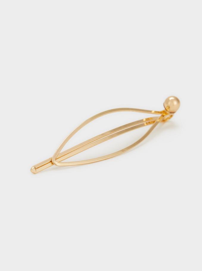 Faux Pearl Hairclip, Golden, hi-res