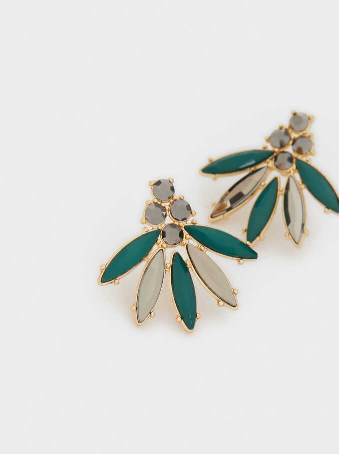 Shiny Short Earrings, Green, hi-res