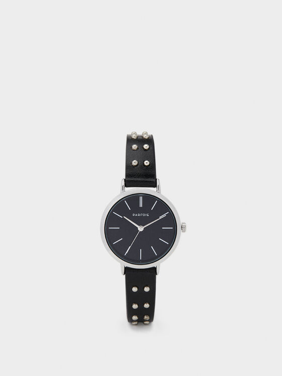 Online Exclusive Studded Cuff Watch, Black, hi-res