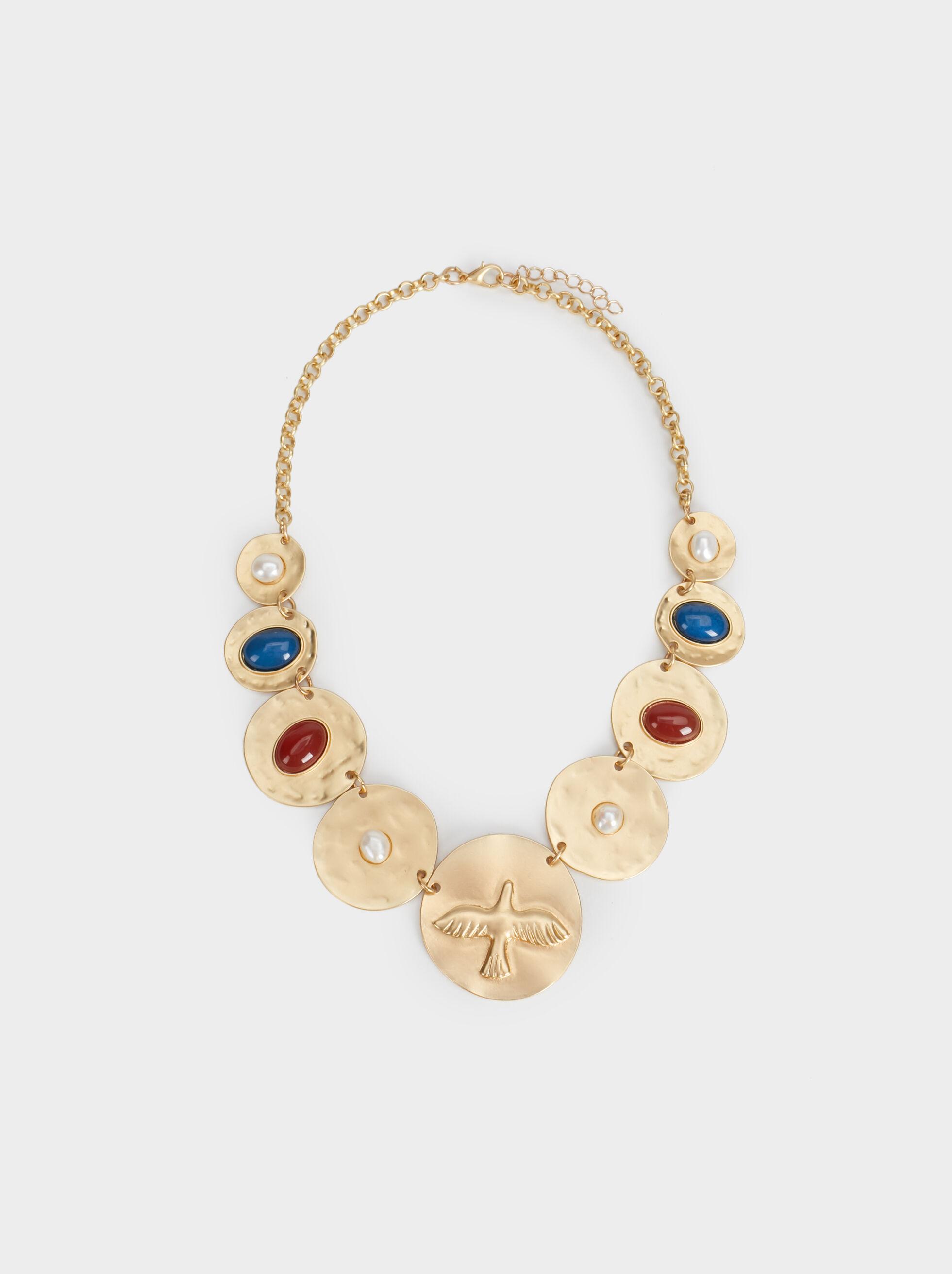 Zorba Short Necklace With Medallions, Multicolor, hi-res