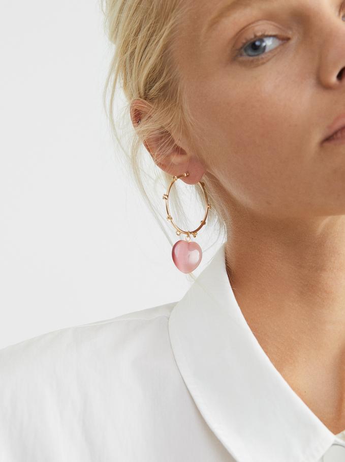 Watercolor Large Hoop Earrings With Heart, Violet, hi-res