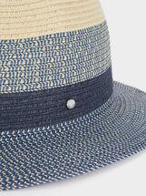 Chapéu De Textura Em Ráfia, Azul, hi-res