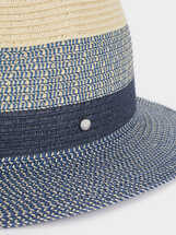 Raffia Textured Hat, Blue, hi-res