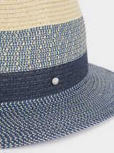 Sombrero Textura Raffia, Azul, hi-res