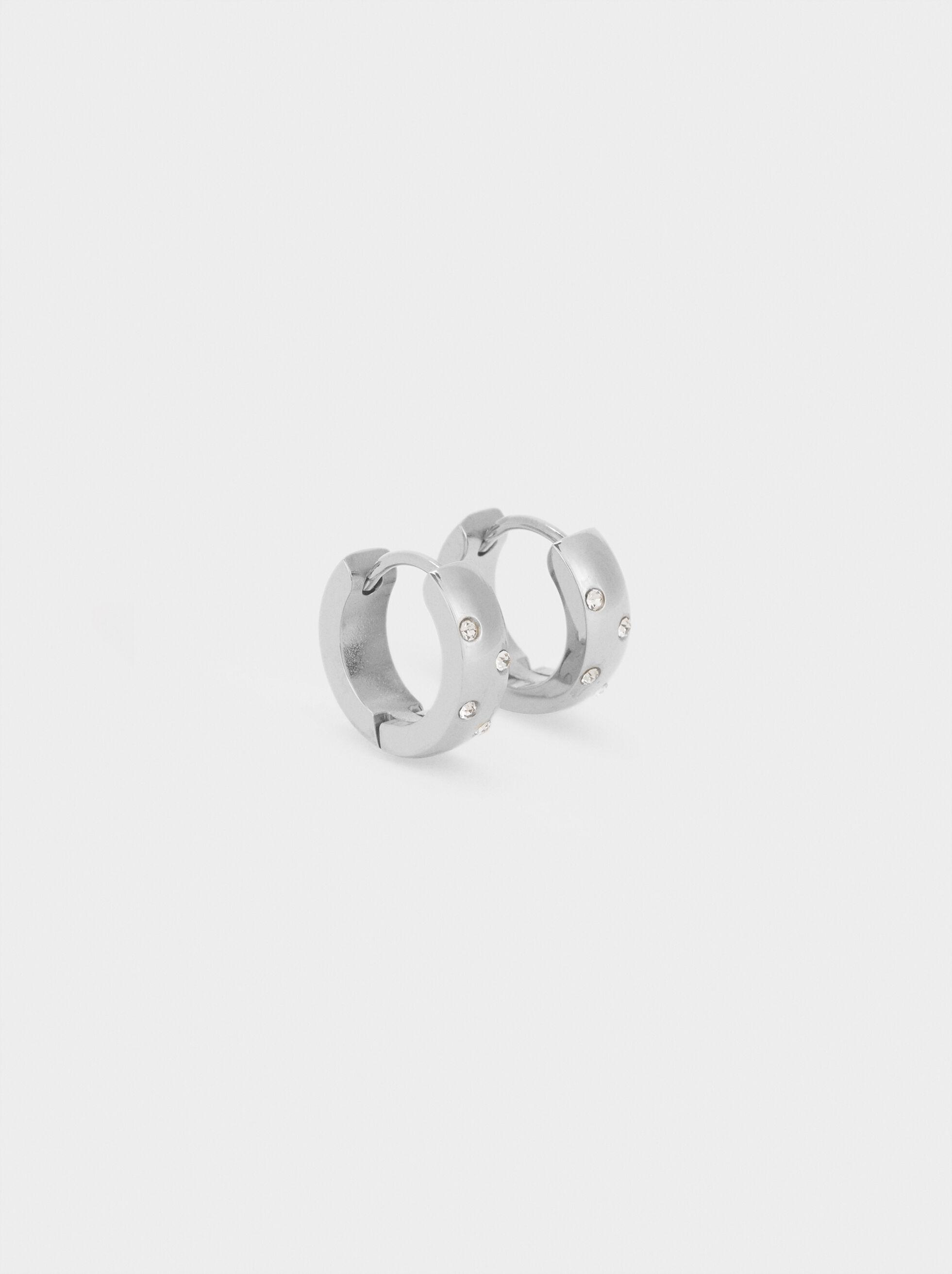 Small Stainless Steel Hoop Earrings With Rhinestones, Silver, hi-res