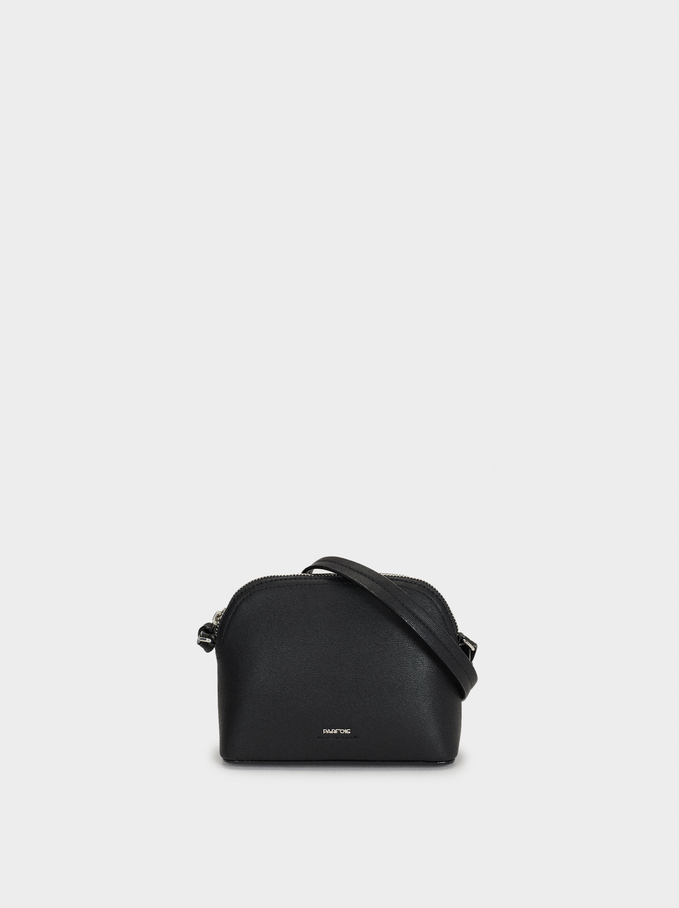Shoulder Bag With Outer Pocket, Black, hi-res