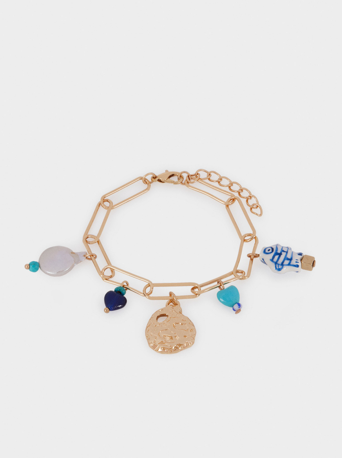 Chain Link Bracelet With Charms, Blue, hi-res