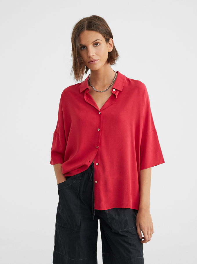 Plain Oversized Shirt, Red, hi-res