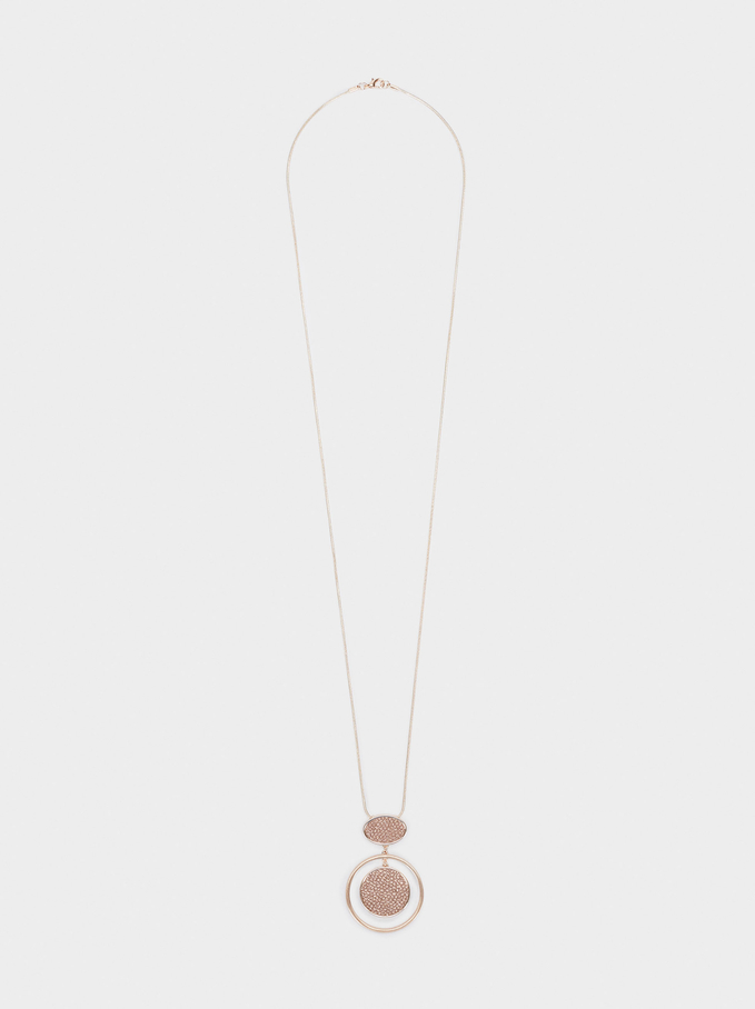 Long Necklace With Pendant, Orange, hi-res