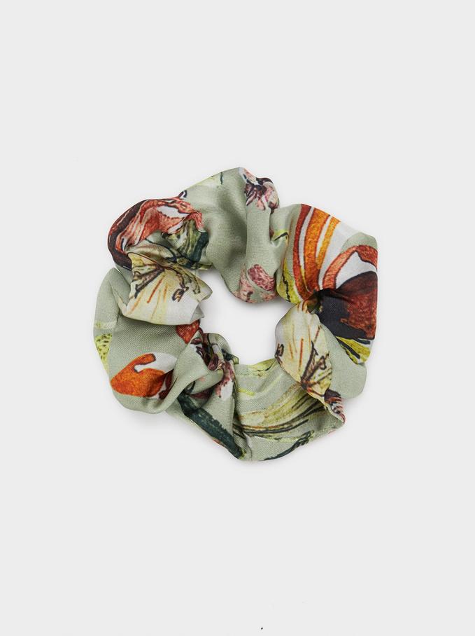 Elastico Per Capelli Con Stampa Floreale, Multicolore, hi-res