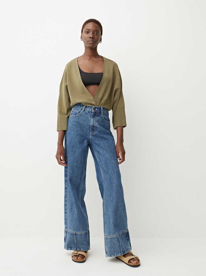 Open Knitted Cardigan, Khaki, hi-res