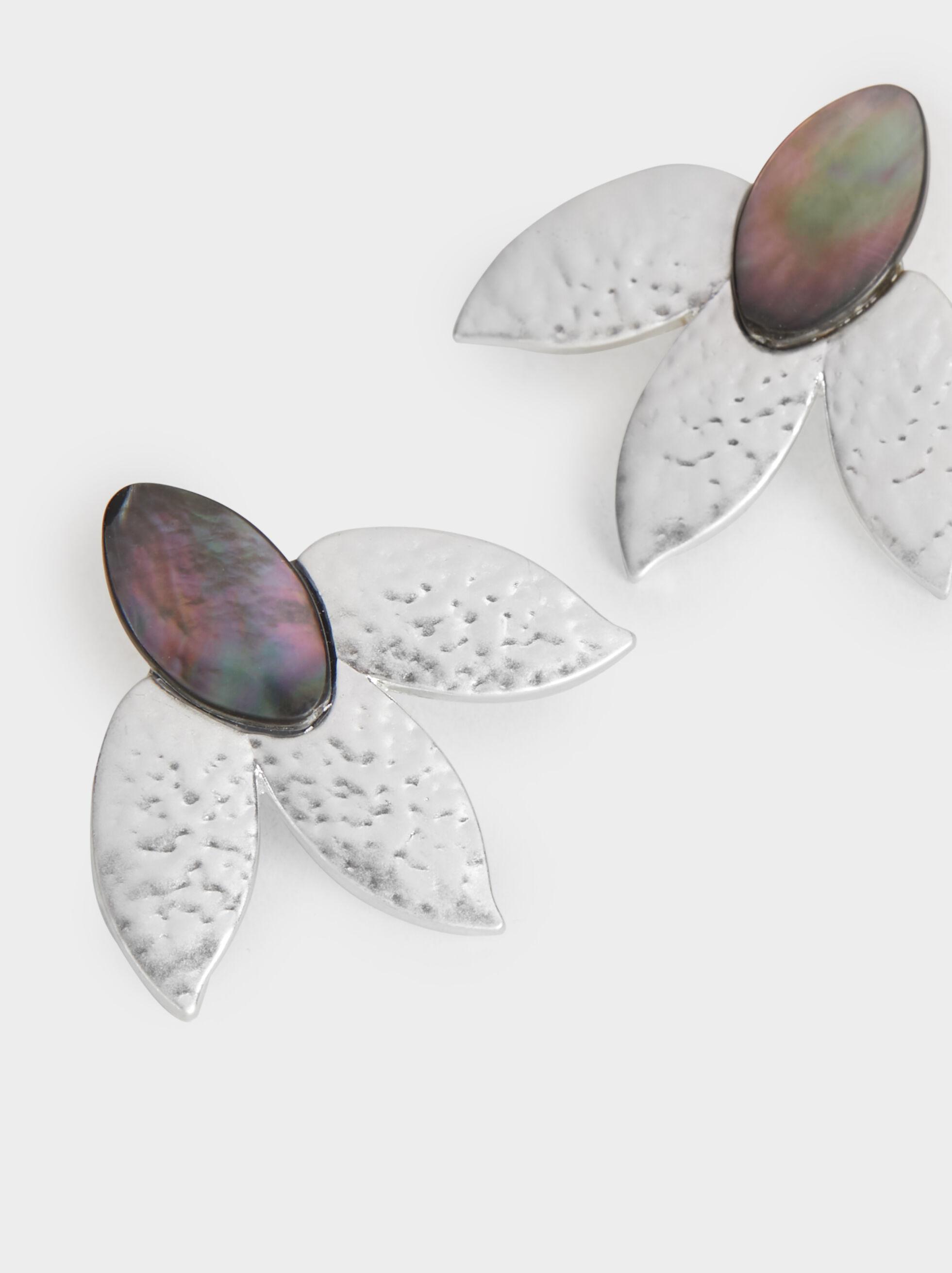 Medium Flower Earrings, Silver, hi-res