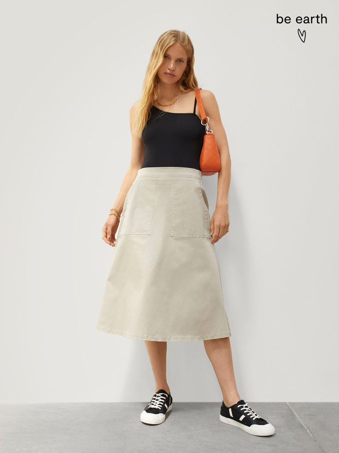 Limited Edition Cotton Skirt With Elastic, Beige, hi-res