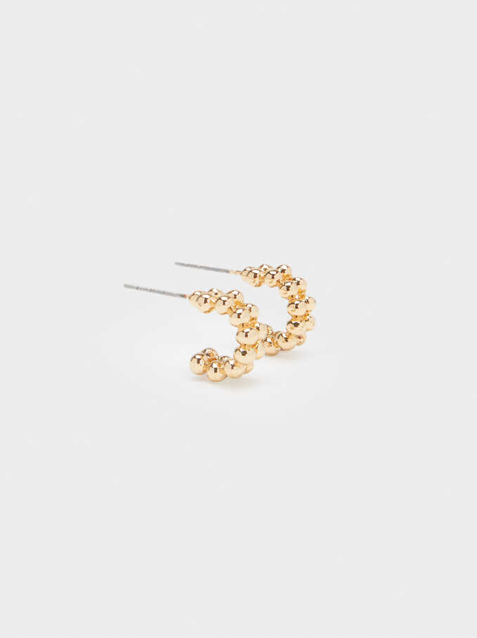 Small Hoop Earrings With Silver Balls, Golden, hi-res