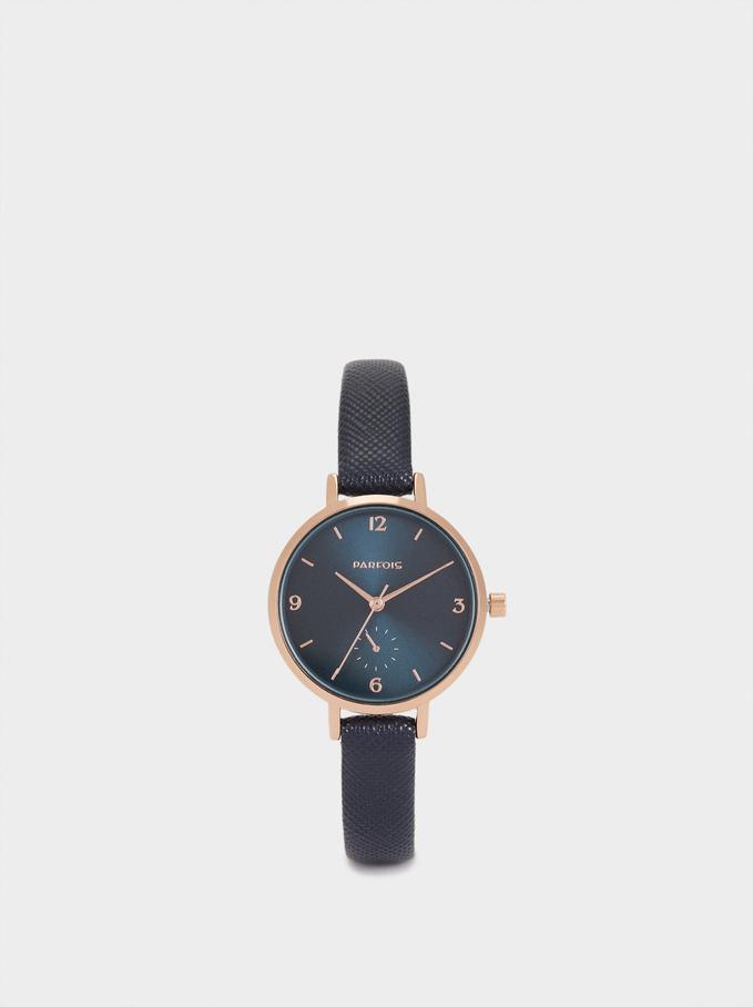 Montre-Bracelet Texturée Cuir, Bleu Foncé, hi-res