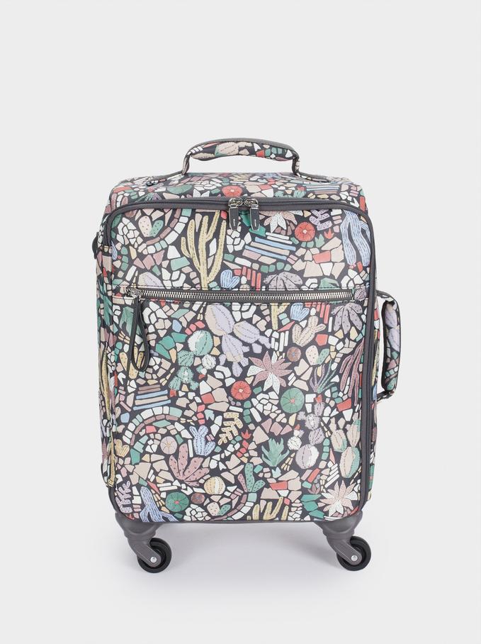 Print Nylon Suitcase, Black, hi-res