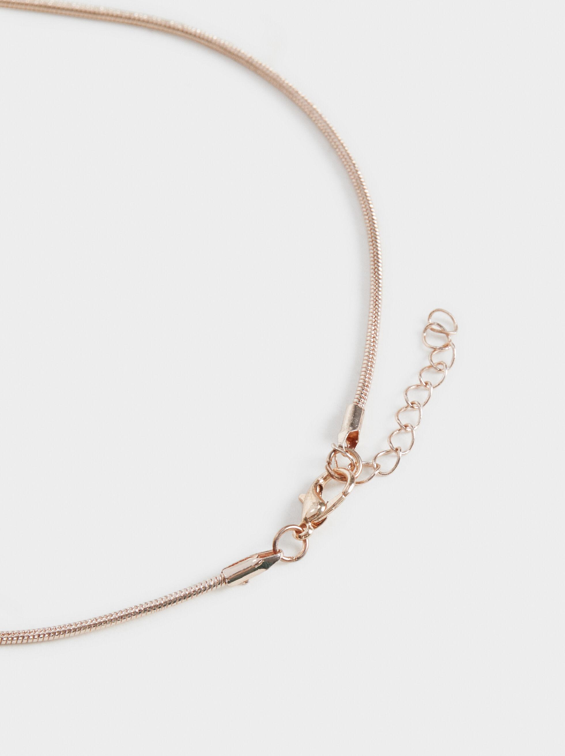 Pink Desert Short Necklace With Beading, Orange, hi-res