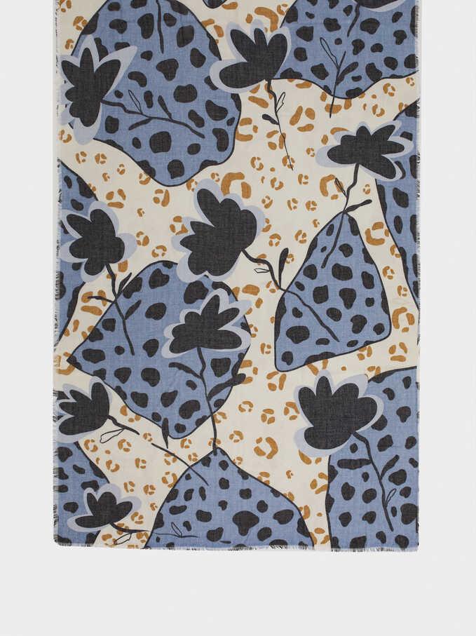 Multicoloured Print Scarf, Blue, hi-res