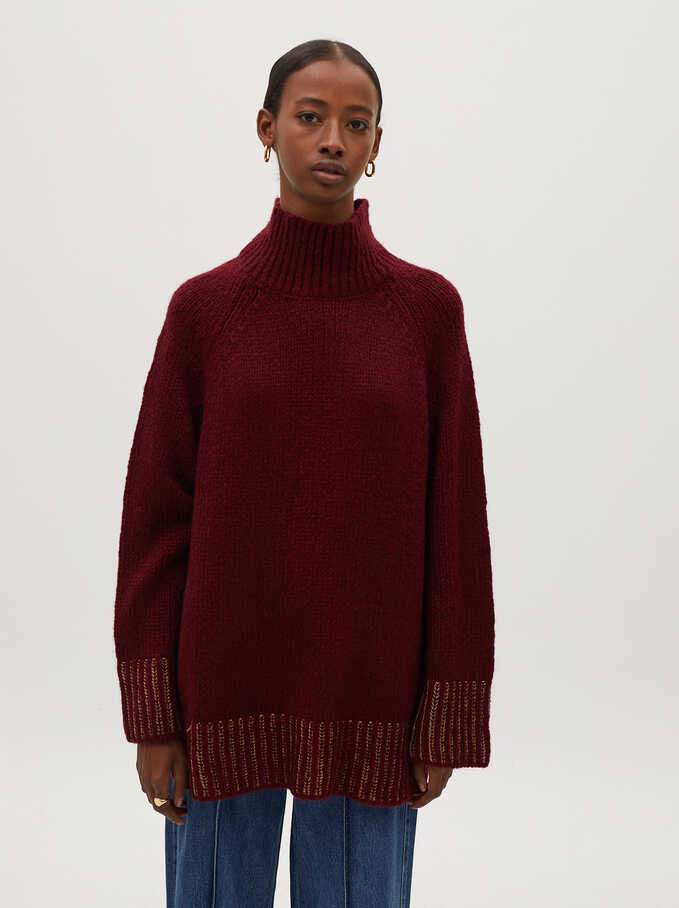 High-Neck Knit Sweater, Bordeaux, hi-res