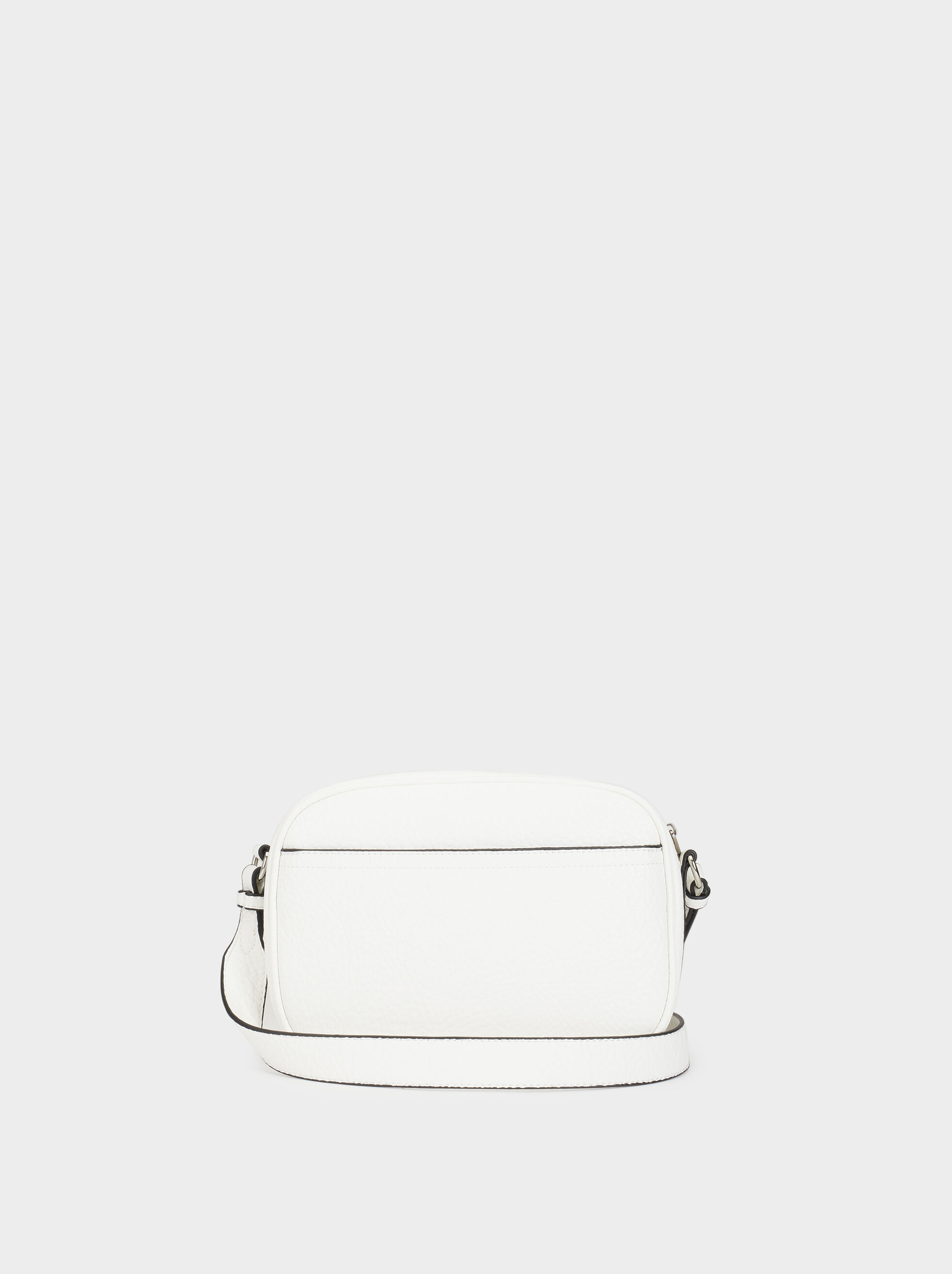 Embossed Faux Leather Crossbody Bag, White, hi-res