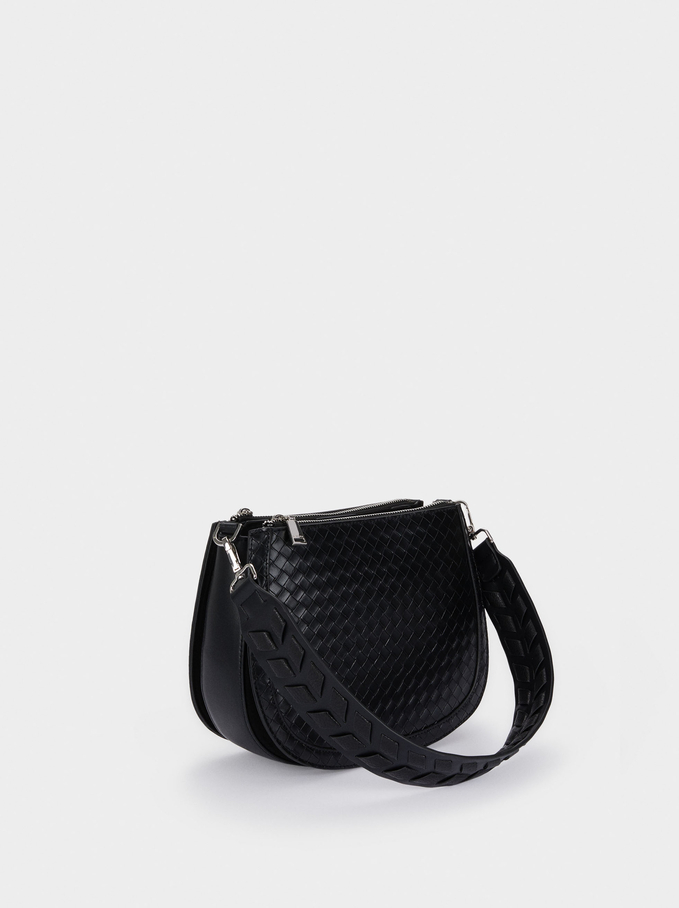 Woven Crossbody Bag With Strap, Black, hi-res