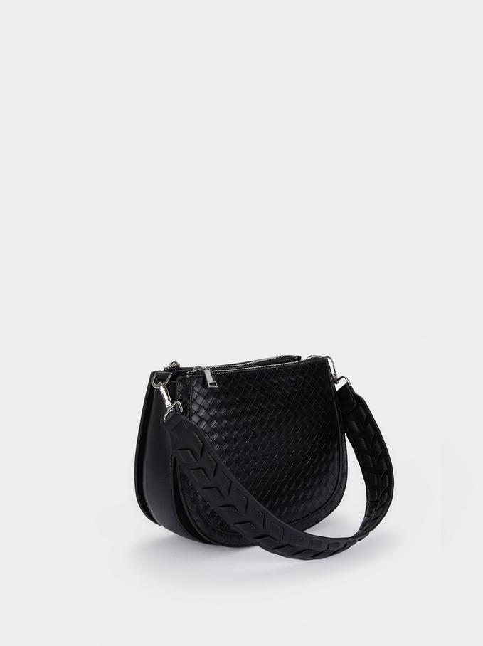 Shoulder Bag With Woven Strap, Black, hi-res