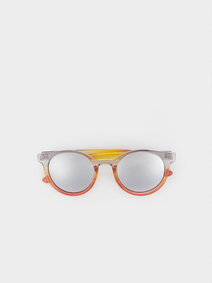 Okragle Okulary Przeciwsloneczne W Oprawkach Z Tworzywa, Wielokolorowy, hi-res
